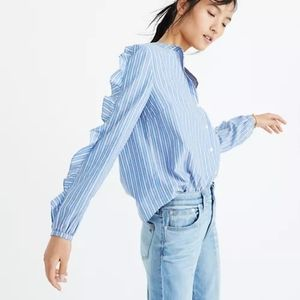 Madewell Striped Frill Sleeve Cotton Shirt Blouse Button Up Size M